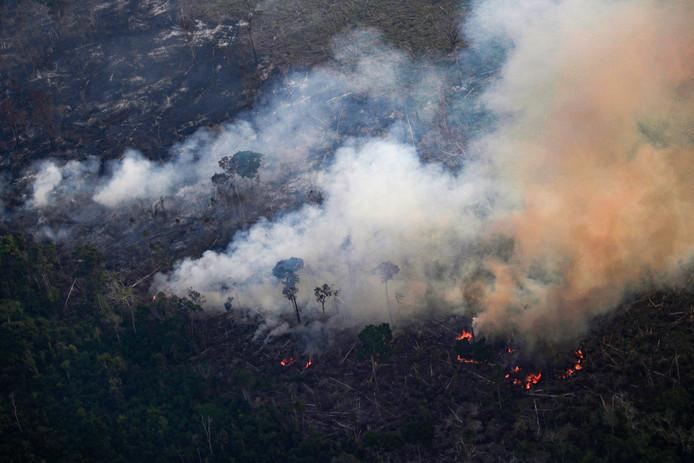 Brand in het Amazonwoud in de buurt van Porto Velho in Brazilië.
