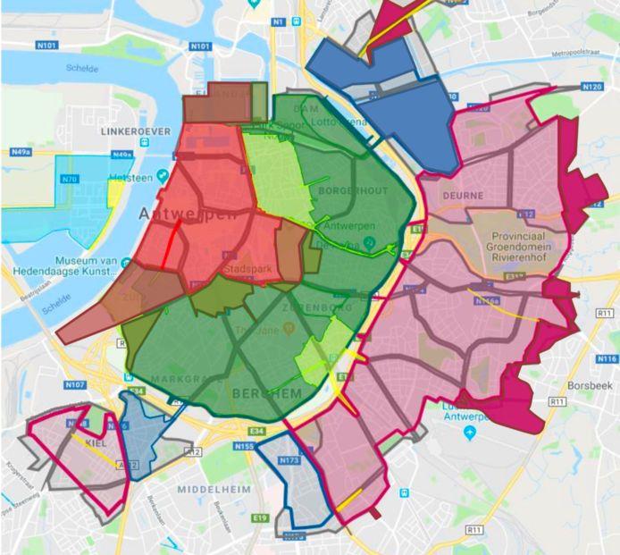 Vanaf 1 januari breidt onder meer de rode zone fors uit naar het Eilandje en een aantal straten rond het Centraal Station. Voor het Zuid en het Nieuw Zuid wordt gewacht tot de parking Steendok op de Gedempte Zuiderdokken klaar is.
