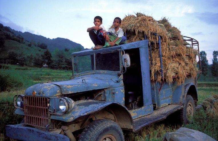 Iraanse jongens op een oude vrachtwagen met tarweoogst. Beeld Hollandse Hoogte