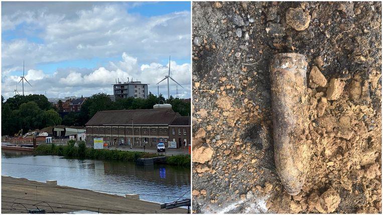 Links de werf voor de nieuwe Zennebrug. Rechts een beeld van de bom die werd gevonden op de site in Halle.