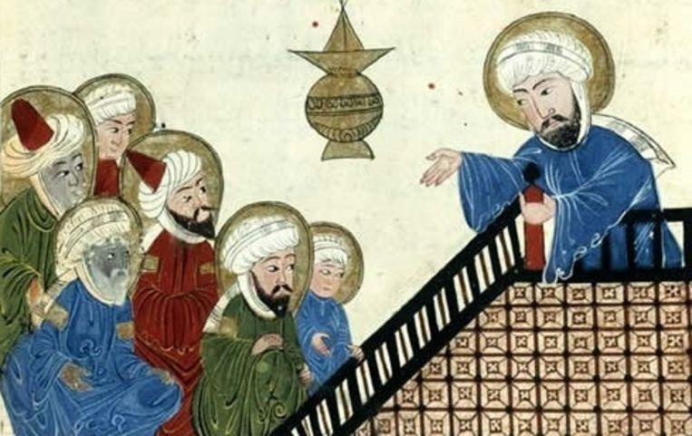 Mohammed spreekt zijn eerste bekeerlingen toe. Illustratie uit de 15e eeuw. Beeld Bibliotheque Nationale, Parijs