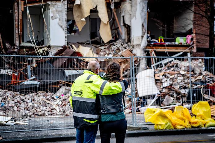 De woningen aan de Jan van der Heijdenstraat nadat zij waren ingestort door een gasexplosie.