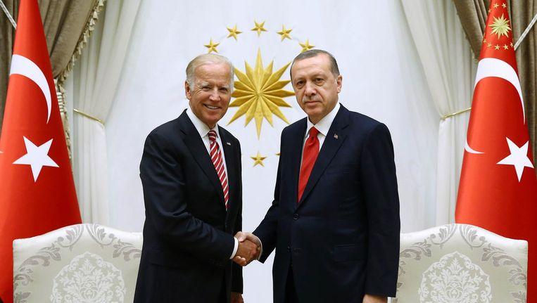 Amerikaanse vicepresident Biden en de Turkse president Erdogan Beeld afp