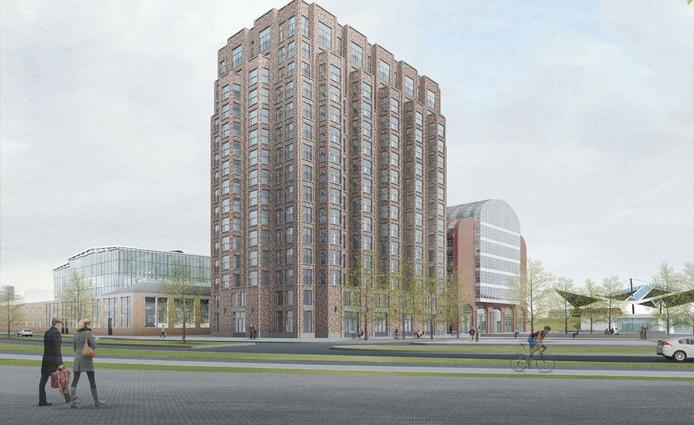 Het gebouw centraal is het woongebouw, rechts daarvan het werkgebouw.