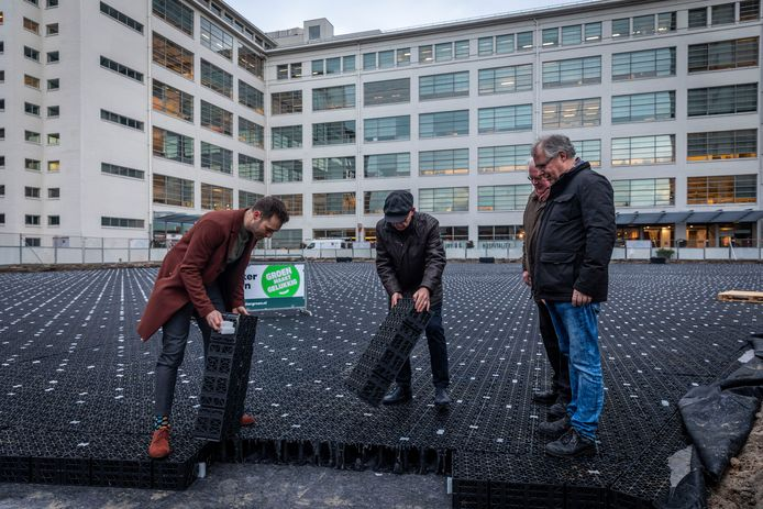 Wethouder Rik Thijs (links) legt samen met bewoners (vlnr) Jan Lemens, Peter van Opbergen en Theo Hoppenbrouwers de laatste kratjes neer voor de waterberging onder het Prins Clausplein in Eindhoven.