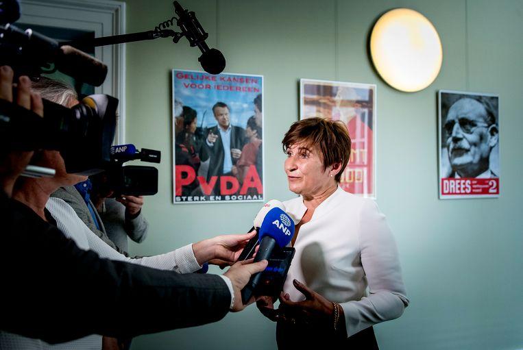 PvdA-Kamerlid Lilianne Ploumen reageert op de situatie rondom bestuursvoorzitter Andre Postema, van de stichting Limburgs Voortgezet Onderwijs LVO. Beeld ANP