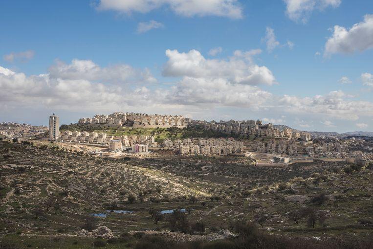 Har Homa, een nederzetting in het Oosten van Jeruzalem.  Beeld AP