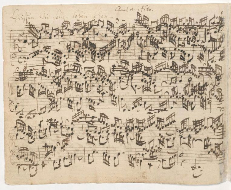 Bladzijde uit het Orgelbüchlein in Bachs handschrift: Christum wir sollen loben schon. Beeld