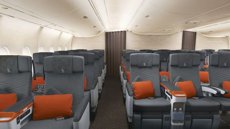 Deze zitjes zijn vergelijkbaar met die van de Boeing 777 van Singapore Airlines.