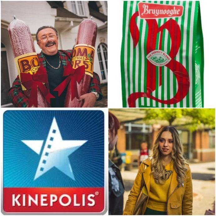 Boma van FC De Kampioenen, Bruynooghe Koffie, het logo van Kinepolis en Camille van #LikeMe