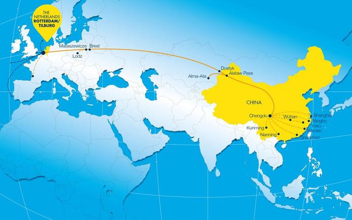 Het traject van de Chengdu-Tilburg-Rotterdam-Express.