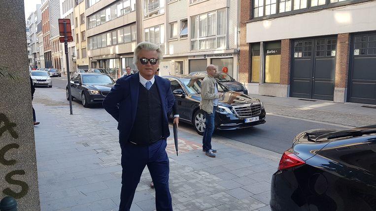 Geert Wilders arriveert in Antwerpen.