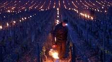 fotoreeks over Vuurpotten tegen de nachtvorst in Chablis