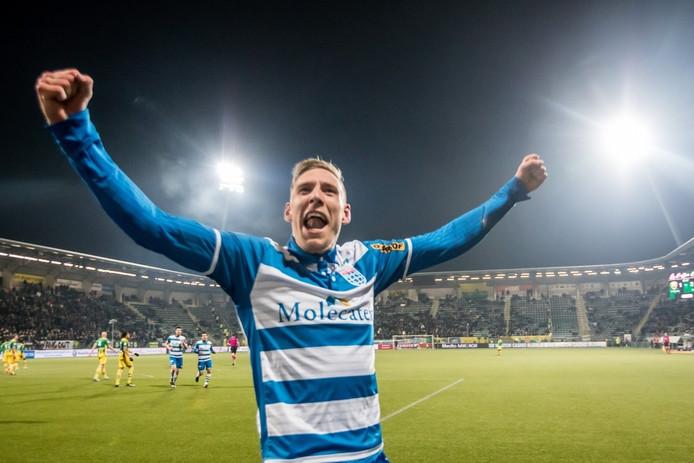 Nicolai Brock-Madsen blij na zijn doelpunt tegen ADO Den Haag.