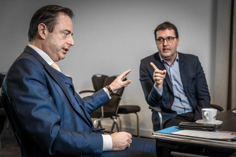 Bart De Wever en Wouter Van Besien tijdens een interview voor deze krant net voor de verkiezingen.