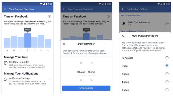 Via de instellingen van je Facebook-account kan je zien hoe veel tijd je op Facebook spendeert, een limiet instellen en pushnotificaties tijdelijk uitschakelen. Ook op Instagram is dat mogelijk.