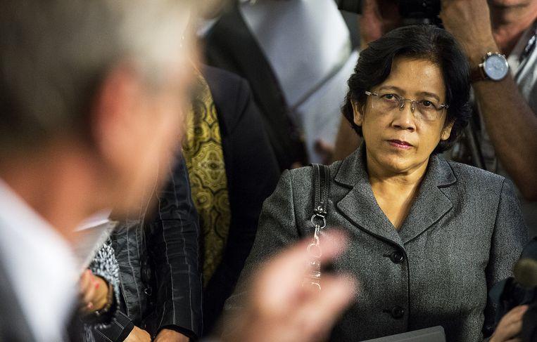 De ambassadeur Fauziah Binti Nohd Taib van Maleisië (R) en Huib Gorter (L) tijdens de persconferentie naar aanleiding van de vliegtuigramp boven de Oekraïne. Beeld anp