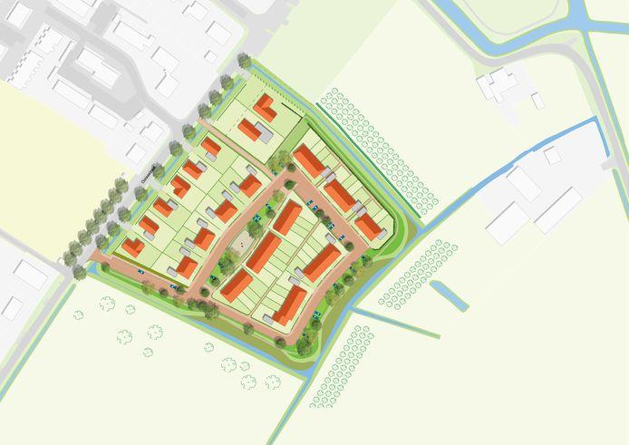 Schets nieuwbouwwijk Broedershof Echteld