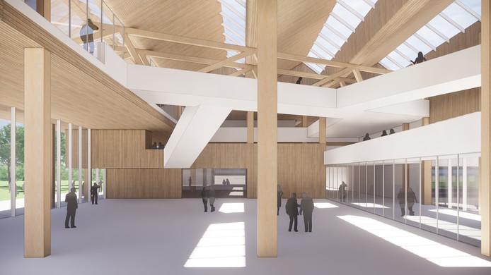 Impressie van de nieuwe aula van het Koning Willem II College.