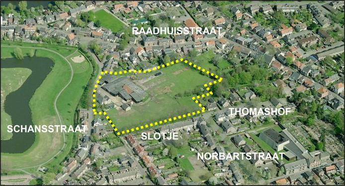 Luchtfoto van de locatie van nieuwbouwproject De Weelde