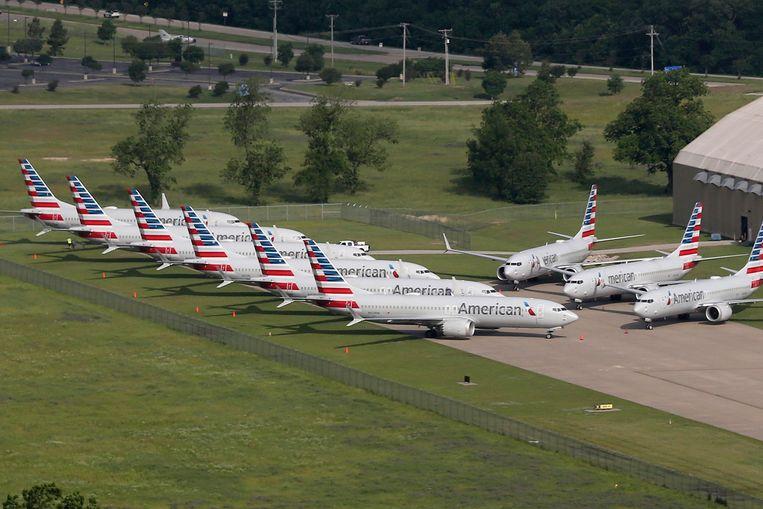 Verschillende Boeing 737 Max-toestellen van American Airlines die aan de grond staan op de internationale luchthaven in Tulsa, Oklahoma.  Beeld AP