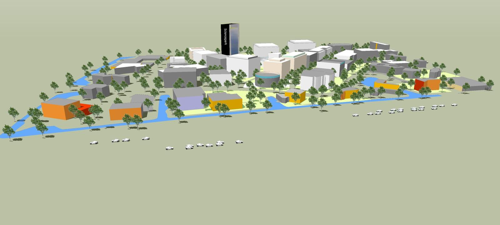 In de toekomst moet het Science Park een duidelijk centrum krijgen met een 'markant gebouw'.