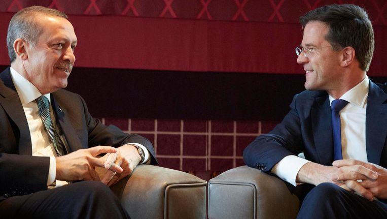 President Erdogan en premier Rutte tijdens een staatsbezoek in 2013. Beeld anp