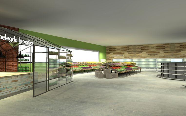 Een beeld dat Peeters-Govers ooit liet maken over hoe de supermarkt er op Turnova zou kunnen uitzien.