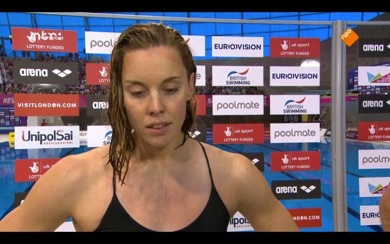 Femke Heemskerk na verlies met 0.03 seconde op het EK 2016 Beeld Maaike Bos