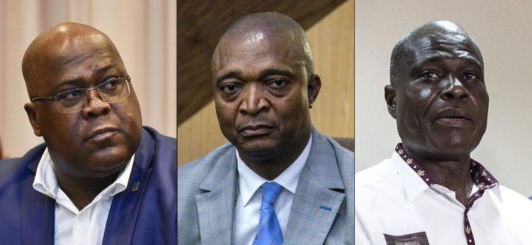 De hoofdrolspelers tijdens de verkiezingen in Congo: oppositieleider Felix Tshisekedi,  Kabila-protegé Emmanuel Ramazani Shadary en de populaire oppositiekandidaat Martin Fayulu.