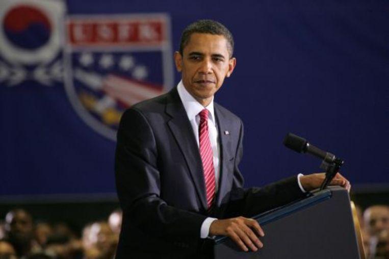 De Amerikaanse president Barack Obama spreekt Amerikaanse en Zuid-Koreaanse militairen toe op luchtbasis Osan in Zuid-Korea in november 2009. ANP Beeld