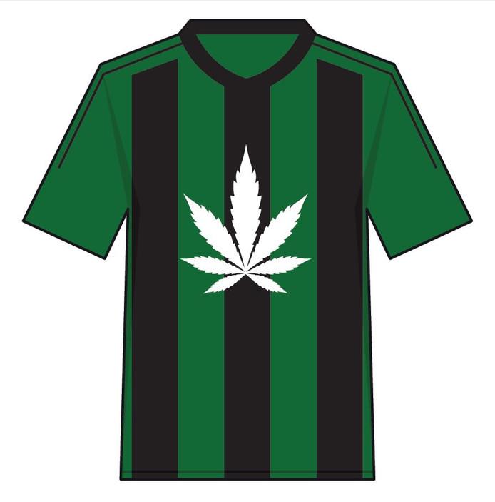 Een coffeeshop als shirtsponsor? De KNVB is er tegen.