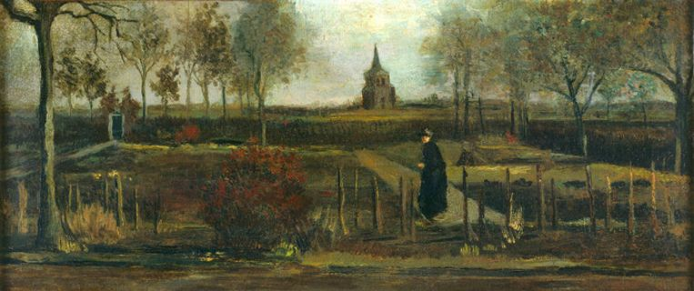 Het gaat om het werk 'Lentetuin, de pastorietuin te Nuenen in het voorjaar' uit 1884. Het schilderij was in bruikleen van het Groninger Museum. Het werk is gemaakt met olieverf op papier op paneel en is 25 bij 57 centimeter groot.