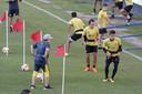 Diego Maradona in actie als trainer van Dorados.