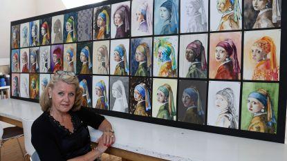 Cursisten van kunstenares maken imposant werk:  42 keer 'Meisje met de parel'