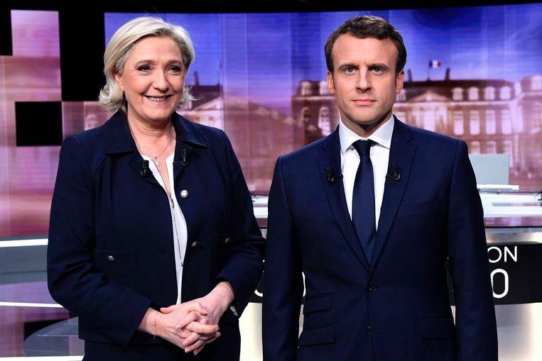 Le Pen en Macron tijdens het tv-debat. Beeld AFP