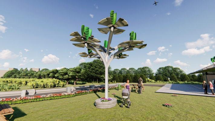 Innovatief idee om energie duurzaam op te wekken: de duurzame energieboom met als bladeren windturbines en zonnepanelen, een ontwerp van Green-infra uit Tubbergen.