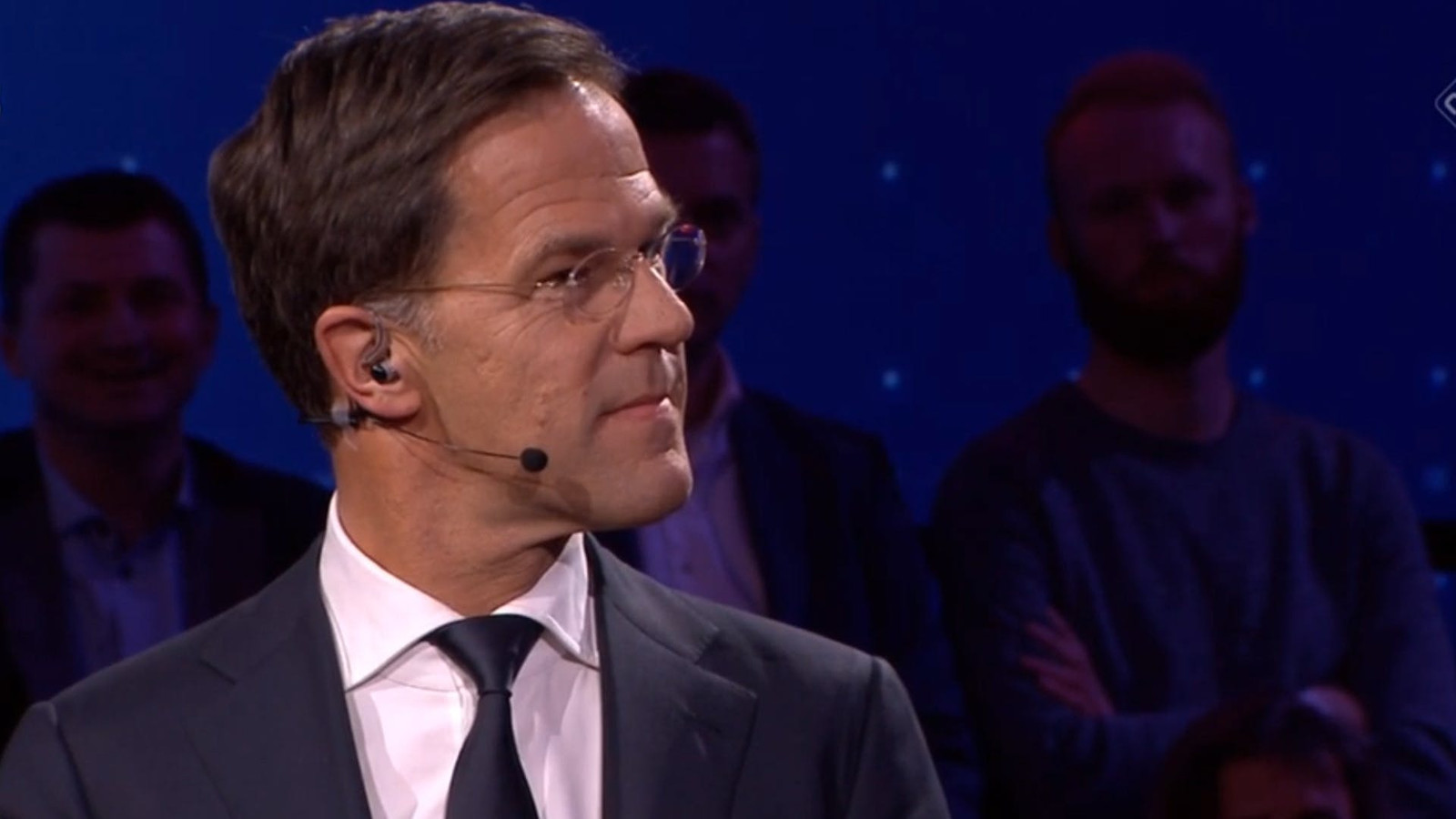 Premier Mark Rutte is woensdag tijdens de uitslagenavond in Den Bosch.
