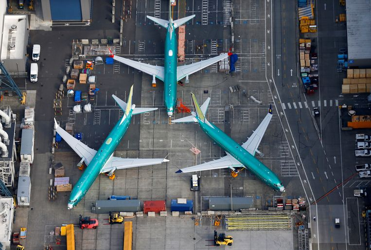 Aan de grond gehouden Boeing 737 Max-toestellen bij de fabriek in Seattle.