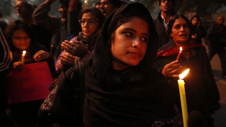 Indiase vrouwen in stil protest na de verkrachting. Beeld ap