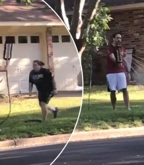 Il met fin à une dispute en arrosant sa voisine