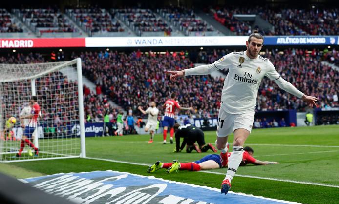 Gareth Bale na zijn goal tegen Atlético Madrid.
