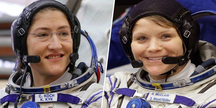 Domper op de feestvreugde: de Amerikaanse astronauten Christina Koch (L) en Anne McClain (R) zullen dan toch niet samen een ruimtewandeling maken.