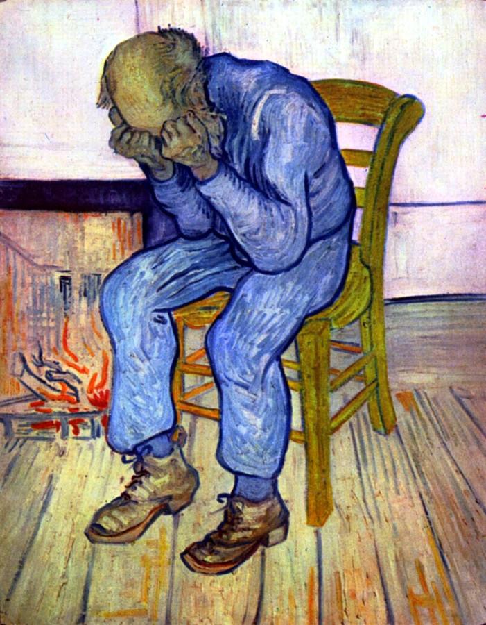 Het schilderij van Van Gogh dat 'Op de drempel van de eeuwigheid' heet, in het Engels vertaald naar At Eternity's Gate.