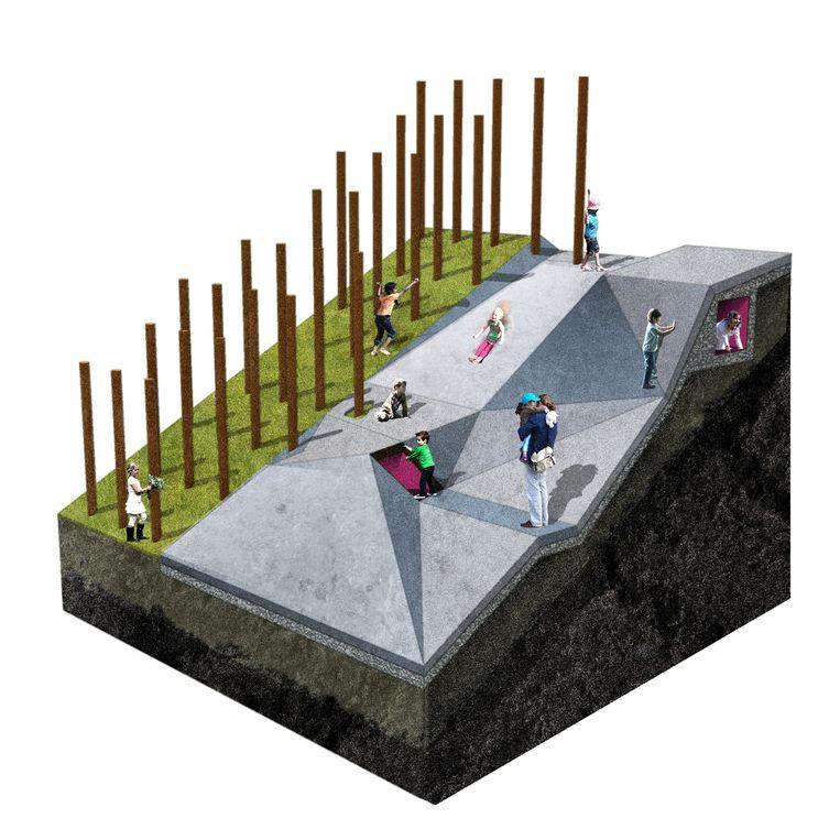 Naast het palenwoud zijn er betonnen klimvlakken en glijbanen.