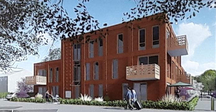 Voorlopige schets van de nieuwbouw - gezien vanaf de Biezenkampstraat - aan het Mariaplein te Haalderen, waar nog enigszins aan gesleuteld moet worden.