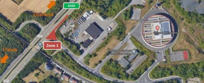 Phase 1 du chantier sur la A503 à hauteur de Marcinelle (Charleroi).