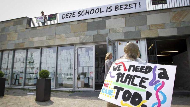 De bezetting van de International School Almere, afgelopen vrijdag. Beeld anp