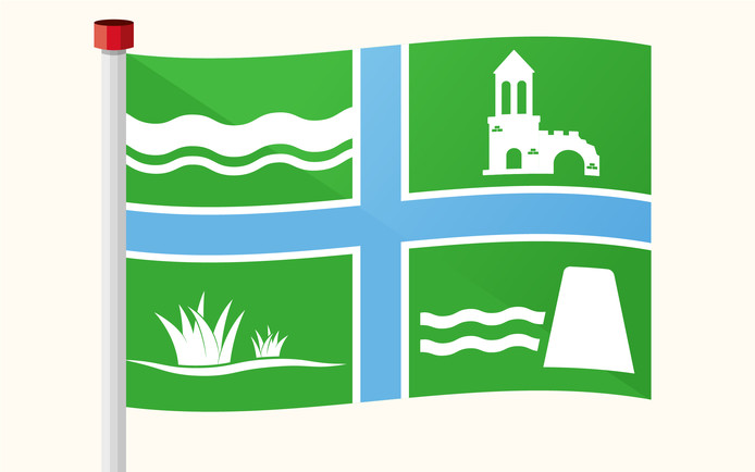 Iedereen mag een vlag voor het Land van Maas en Waal ontwerpen. Deze vlag is ontworpen door de redactie van de Gelderlander.