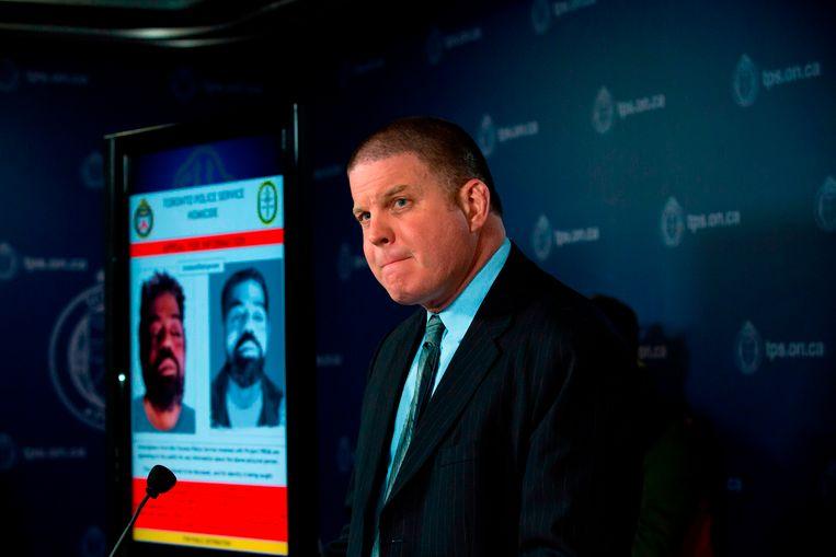 Hank Idsinga van de politie van Toronto tijdens een persconferentie maandag.
